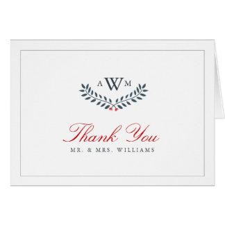 Marine u. rotes Blumenmonogramm danken Ihnen zu Karte