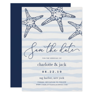 Marine u. weiße Starfish-Save the Date Karte