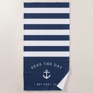 Marine u. weißer Streifen-Boots-Name Strandtuch