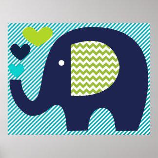 Marine und aquamarines Elefant-Kinderzimmer-Plakat