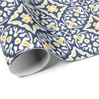 Marine-und Gelb-spanisches Fliesen-Muster Einpackpapier