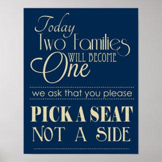 Marine und Gold wählen Seat nicht ein Poster