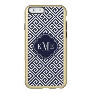 Marine-und Goldgriechisches Schlüsselmonogramm Incipio Feather® Shine iPhone 6 Hülle
