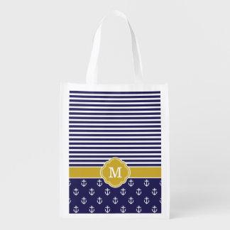 Marine-und Goldstreifen und Anker-Monogramm Wiederverwendbare Einkaufstasche