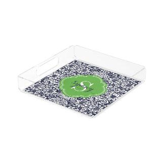 Marine-und Grün-Blumendamast-Monogramm Acryl Tablett