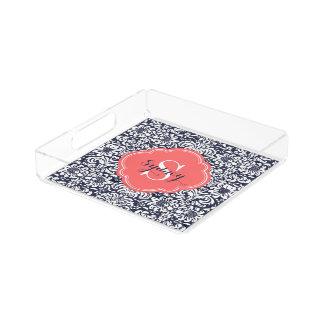 Marine und korallenrotes Blumendamast-Monogramm Acryl Tablett