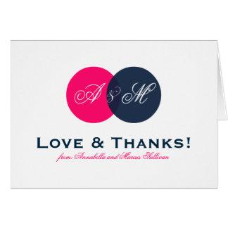 Marine und Pink entwirrtes Monogramm danken Ihnen Karte