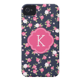 Marine-und rosa Chic-Vintages iPhone 4 Case-Mate Hülle