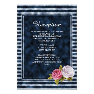 Marine und weiße Vintage BlumenEmpfangs-Einladung 8,9 X 12,7 Cm Einladungskarte