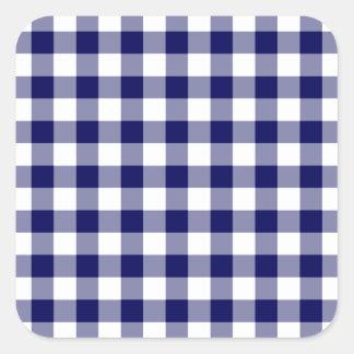 Marine und weißes Gingham-Muster Quadratischer Aufkleber