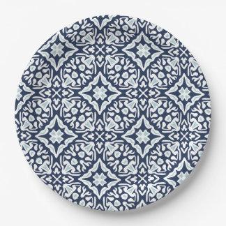 Marine und weißes Mittelmeerfliesen-Muster Pappteller