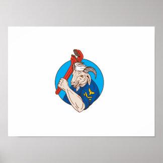 Marine-Ziege, die Rohr-Schlüssel-Kreis Retro hält Poster