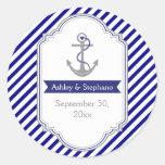 Marineblau-Anker Seewedding Save the Date Runde Sticker