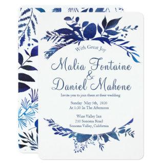 Marineblau Aquarell-Lorbeer-Kranz-Hochzeit laden 12,7 X 17,8 Cm Einladungskarte