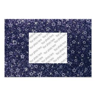 Marineblau-Glittersterne Fotodrucke