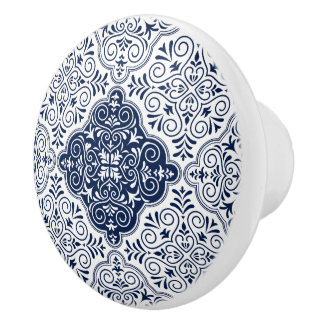 Marineblau marokkanisches BlumenMandala-Muster Keramikknauf