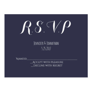 Marineblau-Typografiehochzeit UAWG-Postkarten Postkarten