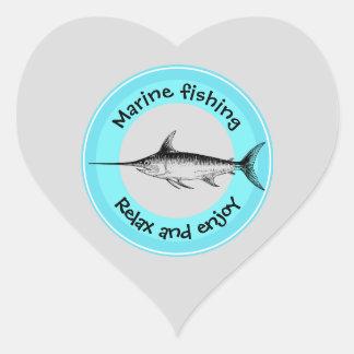Marinefischen entspannen sich und genießen Herz-Aufkleber