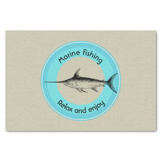 Marinefischen entspannen sich und genießen seidenpapier