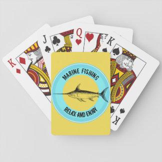 Marinefischen entspannen sich und genießen spielkarten