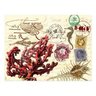 Marinelebens-Collage mit Poststempeln und Postkarte