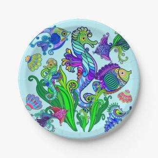 Marinelebens-exotische Fische u. Seepferde Pappteller