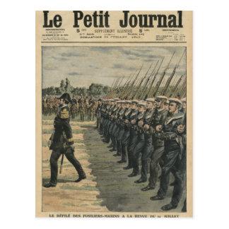 Marinesoldaten auf Parade am Bericht vom 14. Postkarte
