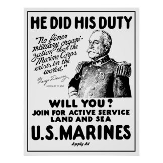 Marinesoldaten Georges Dewey US Poster