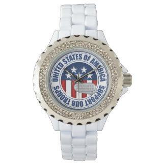 Marinesoldaten stützen unsere Truppe-Uhr Armbanduhr