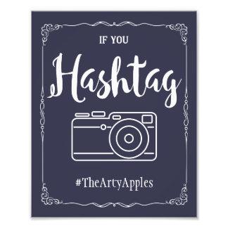 Marinesozialmedien, die Zeichen hashtag wedding Fotodruck