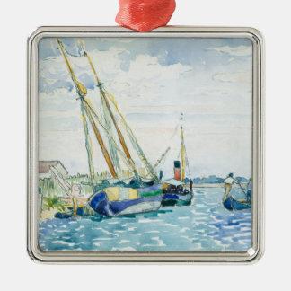 Marineszenen-Boote nähern sich Venedig Silbernes Ornament
