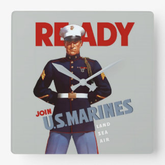 MarineVintage Plakat-Uhr Quadratische Wanduhr