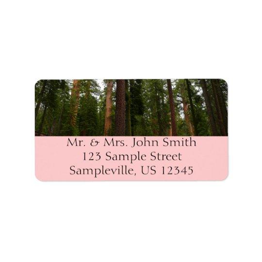 Mariposa Waldung in Yosemite Nationalpark Adressetiketten