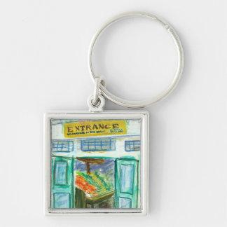 Markt-Eingang Keychain (Pike-Platz Seattle) Silberfarbener Quadratischer Schlüsselanhänger