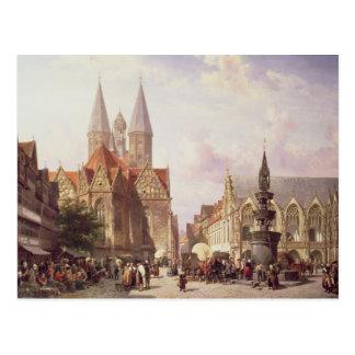 Markt-Szene in Braunschweig Postkarte