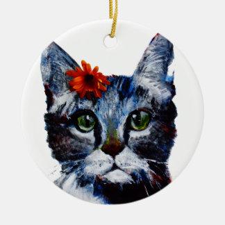 Marmelade, die niedliche Katze, die eine Blume Keramik Ornament