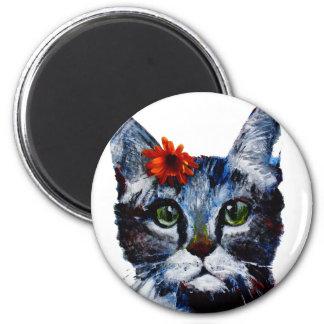 Marmelade, die niedliche Katze, die eine Blume Runder Magnet 5,1 Cm