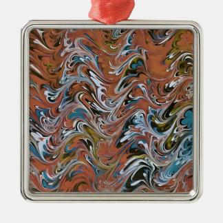 Marmor abstrakt im Rot Quadratisches Silberfarbenes Ornament
