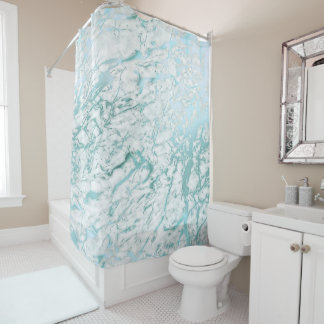 Marmorabstraktes weißes Carrara-blaues Duschvorhang