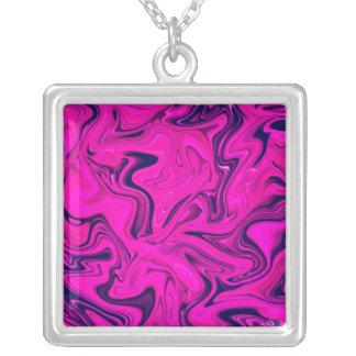 Marmorentwurf in rosa, lila, ultraviolett versilberte kette