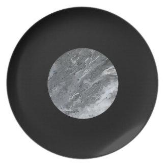 Marmorkern-Grau auf schwarzer Platte Melaminteller