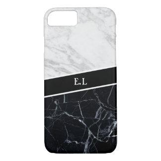 Marmorkontrast-Monogramm-Apple iPhone 7 Fall iPhone 8/7 Hülle
