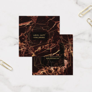 MarmorMasala Rot+Imitat-Goldedelstein-Facette Quadratische Visitenkarte