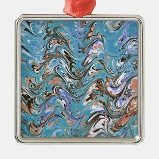 Marmorn abstrakt im Blau Quadratisches Silberfarbenes Ornament