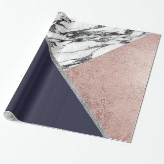 MarmorRosen-Goldmarine-Blau-Dreieck geometrisch Geschenkpapier