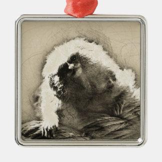 Marmoset-Kunst-Skizze des kleinen Affen Quadratisches Silberfarbenes Ornament