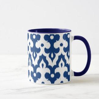 Marokkaner Ikat Damast-Muster, Kobalt-Blau u. Weiß Tasse