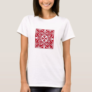 Marokkanische Fliese - dunkelrot und weiß T-Shirt