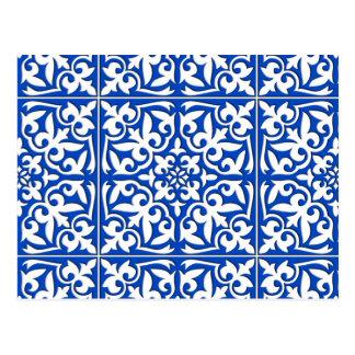 Marokkanische Fliese - Kobaltblau und -WEISS Postkarte