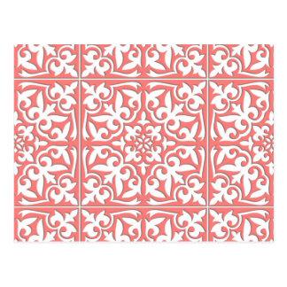 Marokkanische Fliese - korallenrotes rosa und Weiß Postkarte